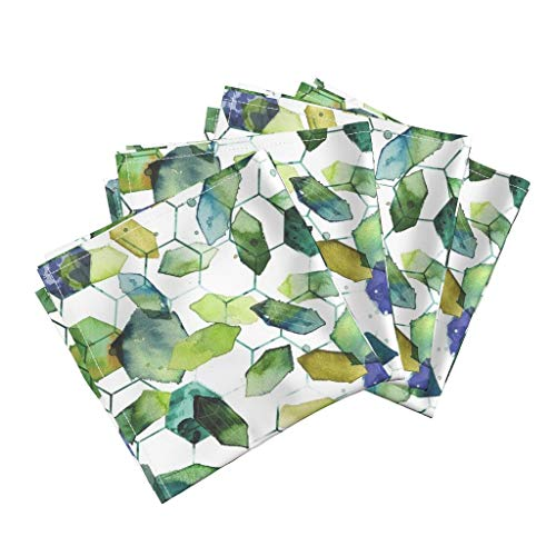 Roostery Watercolor Jade Organic Sateen Dinner Napkins Watercolor Home Decor Jade Jewels Watercolor Geometric Modern Home Decor Abstract Diamonds by Karismithdesigns Set of 4 Dinner Napkins