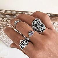 Nongkhai shop 4Pcs/Set Vintage Ethnic Bohemian Knuckle Carved Lotus Flower Midi Ring Jewelry