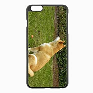 iPhone 6 Plus Black Hardshell Case 5.5inch - akita inu grass dog Desin Images Protector Back Cover