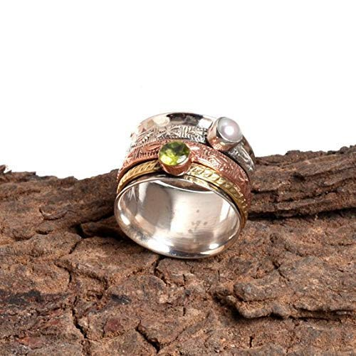 Anxiety Ring for Meditaion Gift Ring for Mothers Day Spinner Band Rings 925 Sterling Silver Spinner Band Rings for Women