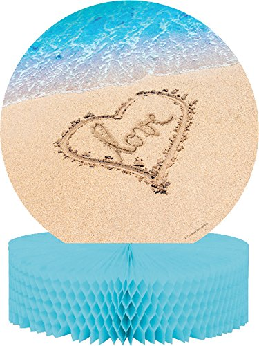 Creative Converting (267363) Beach Love Centerpiece with Honeycomb and Glitter, Blue/Brown ()