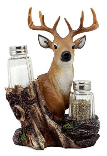 Ebros Gift 12 Point Whitetail Buck Deer Glass Salt & Pepper Shakers Holder Figurine Decor 8.25
