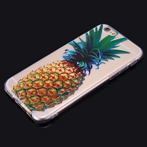 Carcasa Apple iPhone 6 Plus/iPhone 6s Plus (5.5), Funda iPhone 6s Plus Transparente Silicona, EUWLY Ultra Slim Dibujos Pintado de Colores con Patrón Elegante Silicona Carcasa Ultra Fina Transparente  Piña Amarilla