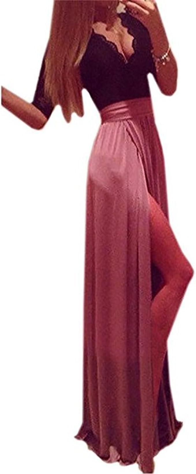 Zweifarbige lange Abendkleid: Amazon.de: Bekleidung