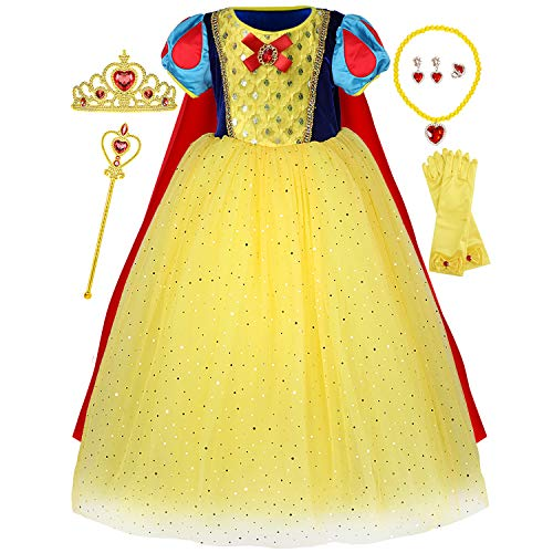 Princess Snow White Costume Generic Dress Up with Accessories for Girls Party -