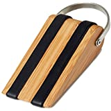 SleekStopper SW-041B Decorative Bamboo Door Stopper with Rubber Treads and Metal Handle - Lifetime Guarantee!