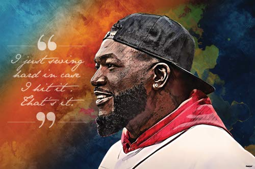 Famous Baseball Player Poster 24x36 I Swing Hard Quote Home Decor Print (David Ortiz Poster)