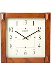 Amazon Com Seiko Wall Clock Quiet Sweep Second Hand Dark Brown Solid Oak Case Watches