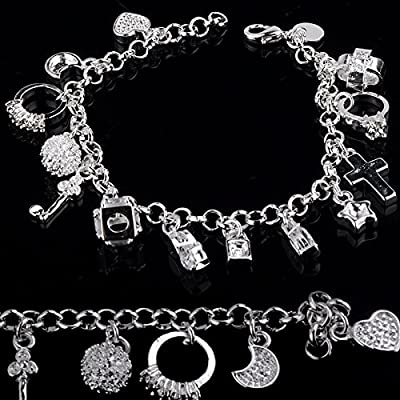 Fablcrew Plated Silver Women Cuff Bracelet, with 13 Pendants Size 21cm: Home & Kitchen