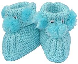 Knit Puppy Booties, Size: 0-12 M, Color: Light Blue