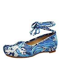 AvaCostume Womens Sea Wave Printing Curled Ankle Strappy Flats Shoes