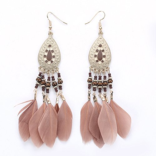 Diamondo Bohemia Colorful Beads Tassel Vintage Drop Leaves Earrings Dangling Jewelry (D) ()
