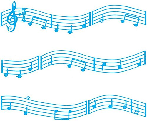 Light-Blue-Music-Band-Notes-Cake-Side-Designer-Strip-Edible-CakeCupcake-Party-Topper