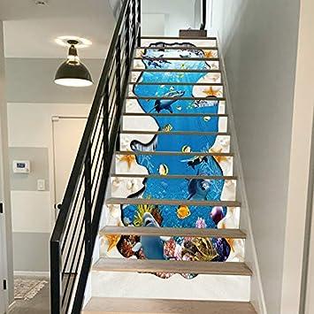 FLFK 3D Mundo submarino de peces de arrecife de delfines auto-adhesivos Pegatinas de Escalera pared pintura vinilo Escalera calcomanía Decoración 39.3 pulgadas x7.08 pulgadas X 13Piezas: Amazon.es: Bricolaje y herramientas