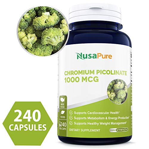 - Pure Chromium Picolinate 1000mcg 240 Veggie Capsules (Non-GMO & Gluten Free) - Support Weight Management, Cardiovascular Function, Sugar Metabolism - Made in USA - 100% Money Back Guarantee!