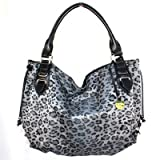 Leopard Animal Print Gray Black Round Hobo Shoulder Bag Double Rolled Handles, Bags Central