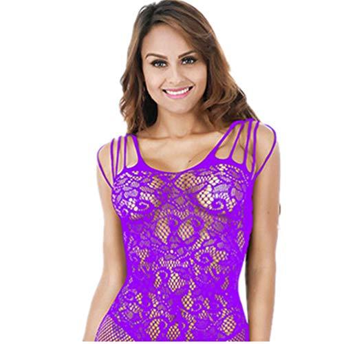 POQOQ Lingerie Underwear Women Lace Dress Bodysuit Nightwear Babydoll Sleepwear Free Size Purple