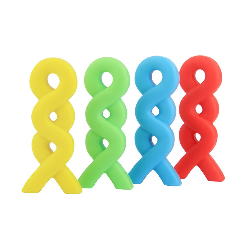 Chew Necklace, Yuccer Silicone Teething Necklace for Baby Sensory Chew Toys for Autistic Children (Blue+Green+Orange+Yellow, 4 Pack)