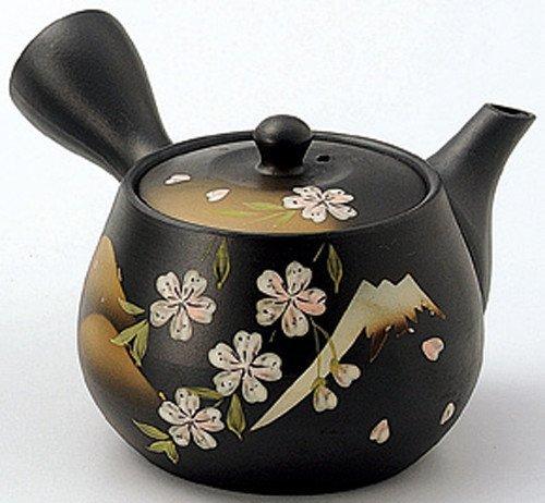 Yamakiikai Japanese Ceramic Kyusu Teapot with Strainer 320cc Mt.Fuji & Cherryblossoms FM1479 by Yamakiikai