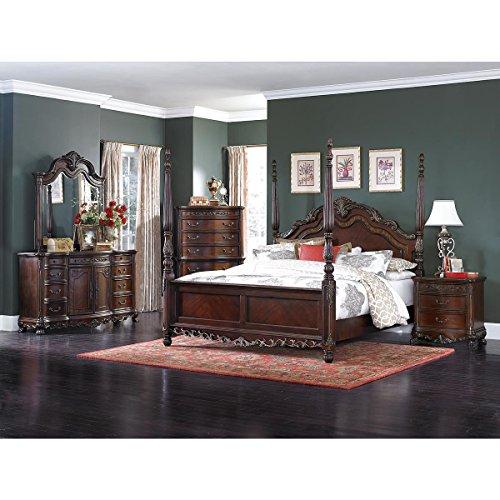 HEFX Dublin 5 Piece Queen Poster Bedroom Set in Cherry - Bed, Nightstand, Dresser, Mirror, Chest (5 Piece Queen Poster)