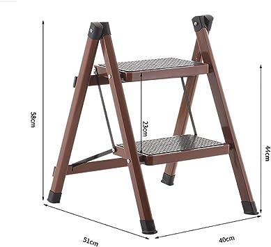 Escalera de 2 peldaños, escalera plegable de acero resistente, portátil, compacta, con alfombrilla antideslizante para el hogar y la cocina, marrón: Amazon.es: Bricolaje y herramientas