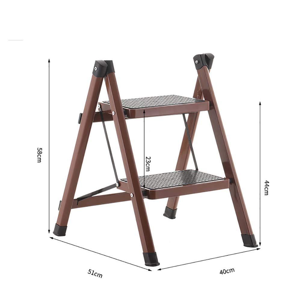 2ステップ はしご,頑丈の鋼 折りたたみ 梯子 ポータブル コンパクト ミニ はしご 滑り止めマット付き ホーム キッチン-珈琲色 51x40x58cm(20x16x23inch) B07SSBMRKD 珈琲色