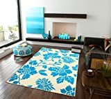 Modern Blue Area Rugs Leaf Style Office Rugs 5×8 Kitchen Floor Rug 5 by 7 Leaves Cheap Rug Set 5×8 Rugs For Living Room Under 50 Prime, 5×8 Blue Rugs Review