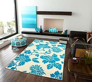 Amazon Com Modern Blue Area Rugs Leaf Style Office Rugs