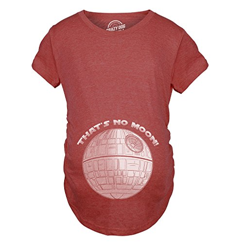 Maternity Thats No Moon Cute Maternity Funny Announce Pregnancy Shirt Baby Bump (Red) -