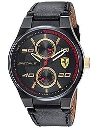 Scuderia Ferrari Men's 'SPECIALE MULTI' Quartz Resin and Leather Casual Watch, Color:Black (Model: 0830418)