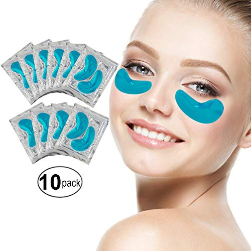 Set Kit of 10 Pairs Blue Marine Algae Seeweed Collagen Gel Crystal Masks Patches Eyes Pads for Intense Moisturizing Hydrating, Wrinkles Crows Feet Removal, Whitening Melanin Pigment Reduction