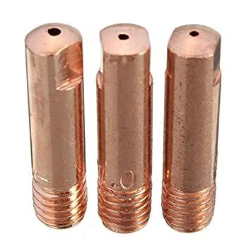 KUNSE 10 Pcs Mb-15Ak M6 Mig/mag Soldadura Antorcha Contacto Boquilla De Gas 0.8/1.0/1.2 Mm-1.0 Mm: Amazon.es: Hogar
