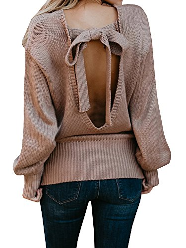 Geckatte Womens Sexy Sweaters Backless Oversized Long Sleeve Loose Knitted Sweater Pullover Jumper