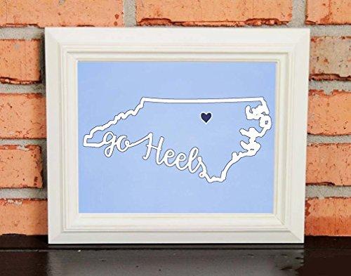 GO HEELS! College Pride Wall Art - UNC Artwork - UNC Tar Heels - University of North Carolina Chapel Hill - UNC Blue and White - UNFRAMED Poster Print - Chalkboard Finish