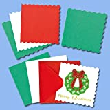 Baker Ross Mini Festive Colours Christmas Greeting Card Blanks for Children to Decorate and Embellish Craft Activities (Pack of 20)