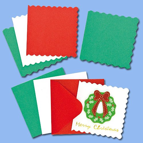 Baker Ross Mini Blank Festive Colours Christmas Greeting Card (Pack of 20) For Children to Decorate and Embellish
