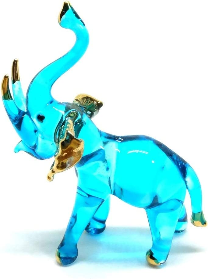 Handmade Mini Light Blue Glass Elephant Art Glass Blown Wild Animal Figurine No.11 - Model Y2019 (Light Blue, Tusks Raised)