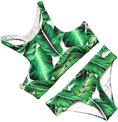 Tengweng Women's Fashion Green Tropical Leaves Printing Tank Padding Bikini Set XL Green2