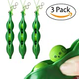 Acerich 3 Pack Squeeze-a-Bean Puchi Puti Mugen Edamame Keychain Keyring Extrusion Bean Pea Soybean Toys Gift