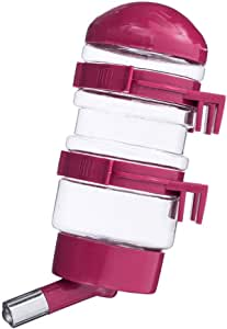 Dispenser for Cage Pet Drinking Fountains No Drip Dog Water Bottle Dispenser Kettle Automatically Feeding Water 10 fl oz,Made of BPA Free Plastic (Fuchsia)