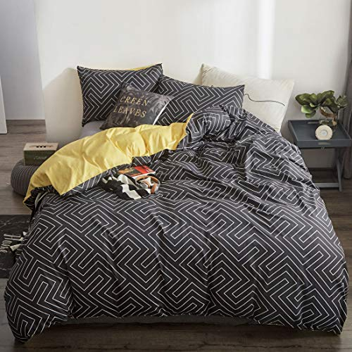 ATsense Duvet Cover King Cotton, Ultra Soft Dark Grey Plaid Duvet Cover Set, Yellow Reversible Comforter Cover, Cosy and Breathable with Zipper Closure & Corner Ties (Yellow Cover Duvet And Grey)