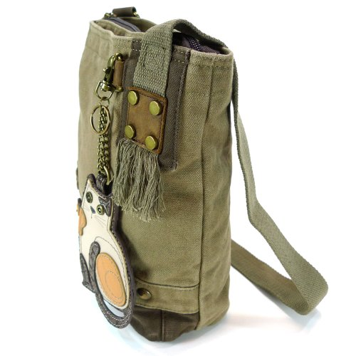 Chala LaZzy Cat Patch Canvas Cotton Messenger Bags with 6 Color Options (Olive) by CHALA (Image #2)