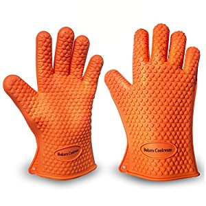 Silicone Gloves For Cooking, Grilling, Baking Oven Glove - Premium Heat & Water Resistant BBQ and Kitchen Glove Set