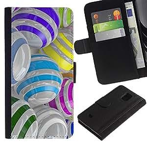 KLONGSHOP / Tirón de la caja Cartera de cuero con ranuras para tarjetas - Colorful Glass Reflective Orb Abstract - Samsung Galaxy S5 Mini, SM-G800, NOT S5 REGULAR!