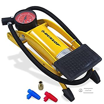 Dunlop - bomba de pie, bomba de aire, bomba de bicicleta y el coche, bomba de pie con manómetro: Amazon.es: Deportes y aire libre
