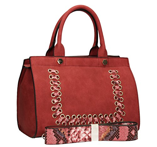SwankySwans - Ralph Weave Snakeskin Strap Smart, Borse a Tracolla Donna Rosso (Rosso (Red))