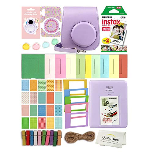 Fujifilm Instax Mini 11 Deluxe 8 in 1 Accessory Bundle Kit Case Album Stickers Frames and Quality Photo Microfiber Cloth (Lilac Purple)
