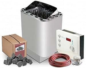 Horno para sauna Ondal Scandia 9 kW y termostato de sauna Eos Emotec DC 9000 para sauna finlandesa