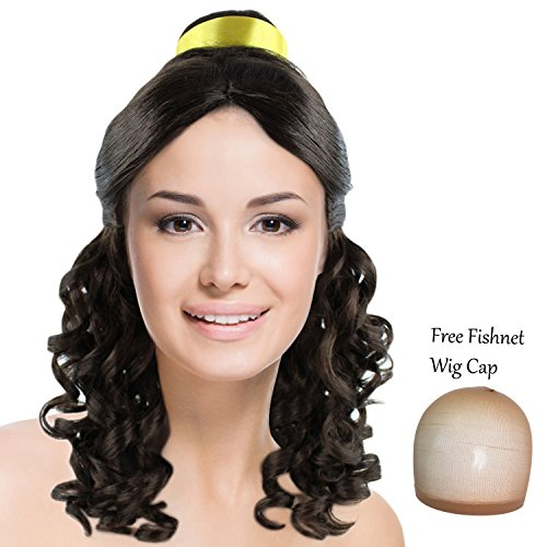 Princess Jasmine Hair Costume (Princess Belle Wig Long Curly Wave Hair with Ribbon for Cosplay Costume Party Dress Up Halloween (Dark Brown ))
