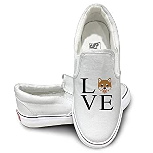 SH-rong I Love My Shiba Inu Unisex Canvas Sneakers Shoes Size 36 White